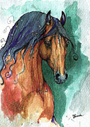 Horse Drawing Painting Prints - The Bay Arabian Horse 7 Print by Angel  Tarantella