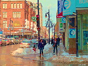St.catherine Street Posters - The Bay Department Store Downtown Montreal University And St Catherine Winter City Scene C Spandau  Poster by Carole Spandau
