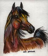 Bay Drawings Framed Prints - The Bay Horse 1 Framed Print by Angel  Tarantella