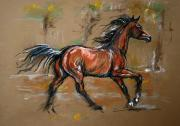 Bay Pastels Posters - The Bay Horse Poster by Angel  Tarantella