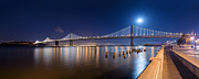 Moonlight Framed Prints - The Bay Lights  Moonlight Framed Print by David Yu