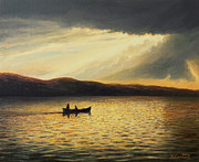 Dramatic Sky Sun Rays Paintings - The Bay of Silence by Kiril Stanchev