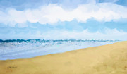 Blue Sky And Sand Posters - THE BEACH abstract art Poster by Ann Powell