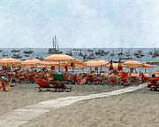 Beach Photograph Digital Art Prints - The Beach at Positano Print by Karen  Burns