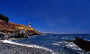 Maine Lighthouses Posters - The Beach At West Quoddy Poster by Skip Willits