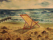 Beach Paintings - The Beach Chair by the Sea by M Bleichner