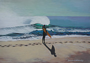 Surfing Art Paintings - The beach by Chikako Hashimoto Lichnowsky