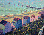 Colorful Palette Posters - The Beach from North Parade Southwold  Poster by Hugo Grenville