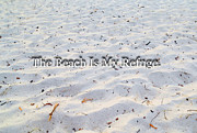 Quote Posters - The Beach Is My Refuge - Ocean Sea Art By Sharon Cummings Poster by Sharon Cummings