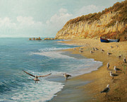 Beach Scenery Painting Prints - The Beach Print by Kiril Stanchev