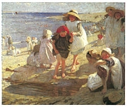 Children At Beach Posters - The Beach Poster by Laura Knight