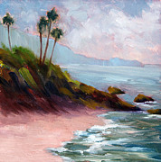 Heisler Park Paintings - The Beach by Nancy Goldman