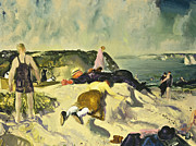 Attire Posters - The Beach Newport Poster by George Wesley Bellows
