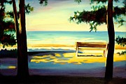 Benches Paintings - The Beach by Sheila Diemert