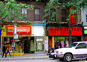 Corner Stores Paintings - The Beadery Craft Shop  Queen Textiles Fabric Store Downtown Toronto City Scene Paintings Cspandau  by Carole Spandau