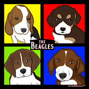 Puppies Digital Art Framed Prints - The Beagles Framed Print by Lori Malibuitalian