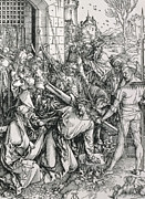 Old Buildings Paintings - The Bearing of the Cross from the Great Passion series by Albrecht Duerer