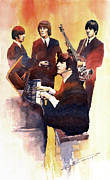 Beatles Painting Framed Prints - The Beatles 01 Framed Print by Yuriy  Shevchuk
