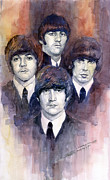 Watercolor Framed Prints - The Beatles 02 Framed Print by Yuriy  Shevchuk