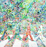 Watercolor Figure Painting Prints - The Beatles Abbey Road Watercolor Painting Print by Fabrizio Cassetta