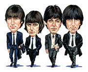 Exaggerart Painting Framed Prints - The Beatles Framed Print by Art