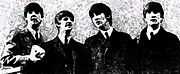 Beatles Digital Art - The Beatles B/W by Digital  Hiccup