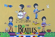 The Beatles George Harrison Paintings - The Beatles Cartoon Concert by Donna Wilson