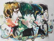Famous Musicians Painting Originals - The Beatles by Chrisann Ellis