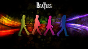 Beatles Digital Art - The Beatles by David  Jones
