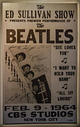 Beatlemania Prints - The Beatles Ed Sullivan Show Poster Print by Mitch Shindelbower