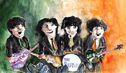 John Lennon  Drawings Prints - The Beatles in Ireland Print by Miki De Goodaboom