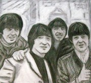 Featured Drawings Framed Prints - The Beatles Framed Print by Lynette  Swart