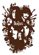 Beatles Digital Art Metal Prints - The Beatles No.15 Metal Print by Caio Caldas