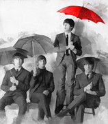 George Harrison Art - The Beatles - Pauls Red Umbrella by Paulette Wright