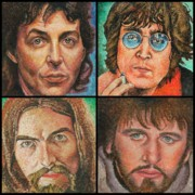 George Harrison Paintings - The Beatles Quad by Melinda Saminski