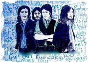 Beatles Mixed Media - The Beatles Rainbow Series Stressed Beatles Blue. by Joan-Violet Stretch