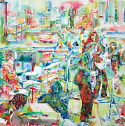 Yoko Ono Prints - THE BEATLES ROOFTOP CONCERT - watercolor painting Print by Fabrizio Cassetta