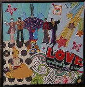 Beatles Mixed Media Originals - The Beatles Save Pepperland by Mari Bailey