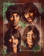 Celebrities Portrait Art - The Beatles by Tim  Scoggins