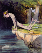 Reflection Drawings - The Beautiful Narcissus by Honore Daumier