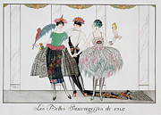 Evening Dress Painting Framed Prints - The Beautiful Savages Framed Print by Georges Barbier