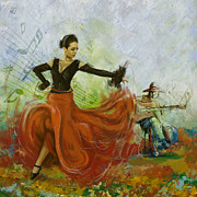 Dancer Paintings - The beauty of music and dance by Corporate Art Task Force