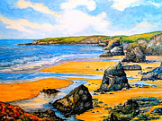 Beach Scenery Drawings Prints - The Bedruthan steps Cornwall Print by Andrew Read