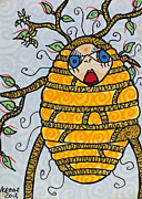 Ironic Drawings Originals - The Bee Keepers Folly by Lauri Crowe