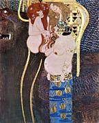 Woman In A Dress Prints - The Beethoven Frieze Print by Gustive Klimt