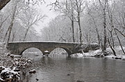 Snowy Digital Art - The Bells Mill Road Bridge in Winter by Bill Cannon