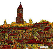 Languedoc Drawings Framed Prints - The Belltower Framed Print by Brian Ceitinn
