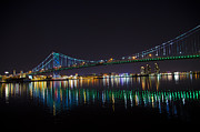 Ben Franklin Bridge Prints - The Ben Franklin Bridge at Night Print by Bill Cannon