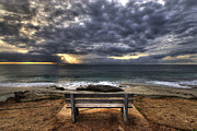 Sunset Framed Prints - The Bench Framed Print by Peter Tellone