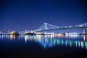 Franklin Framed Prints - The Benjamin Franklin Bridge at Night Framed Print by Bill Cannon